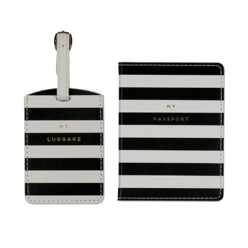Designer Luggage Tag and Passport Holder Set - Black and White Stripe Design